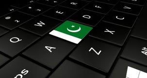 Botão da bandeira de Paquistão no teclado do portátil ilustração stock