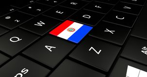 Botão da bandeira de Paraguai no teclado do portátil ilustração stock