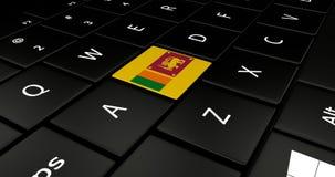 Botão da bandeira de Sri Lanka no teclado do portátil ilustração do vetor