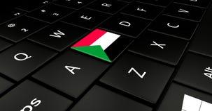 Botão da bandeira de Sudão no teclado do portátil ilustração stock