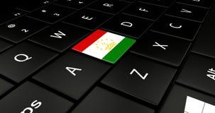 Botão da bandeira de Tajiquistão no teclado do portátil ilustração royalty free