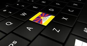 Botão da bandeira de Tibet no teclado do portátil ilustração stock