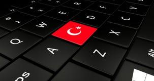 Botão da bandeira de Turquia no teclado do portátil ilustração royalty free