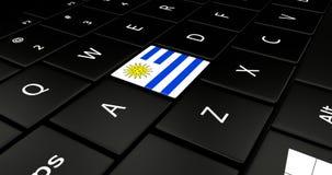 Botão da bandeira de Uruguai no teclado do portátil ilustração stock