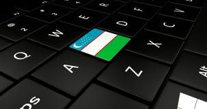 Botão da bandeira de Usbequistão no teclado do portátil ilustração royalty free