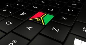 Botão da bandeira de Vanuatu no teclado do portátil ilustração stock