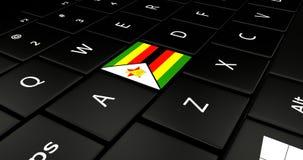 Botão da bandeira de Zimbabwe no teclado do portátil ilustração do vetor