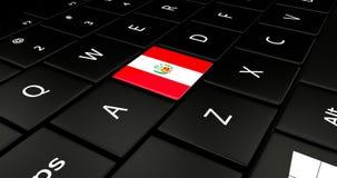 Botão da bandeira do Peru no teclado do portátil ilustração do vetor