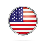 Botão da bandeira do vetor Bandeira dos E.U. no estilo de vidro do botão ilustração royalty free
