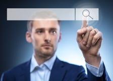 Botão da busca do toque do homem Imagem de Stock