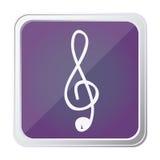 botão da clave de sol da música do sinal com roxo do fundo e mão tirada Imagens de Stock