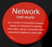 Botão da definição de rede que mostra o sistema de computadores ou de povos ilustração royalty free