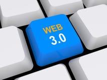 Botão da Web 3,0 Fotografia de Stock Royalty Free