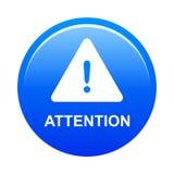 Botão de advertência do cuidado da atenção ilustração do vetor