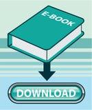 Botão de Ebook da transferência com vetor do ícone do livro ilustração stock