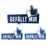 Botão de Gefällt RIM - polegar acima do botão ilustração do vetor