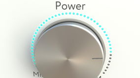 Botão de giro com inscrição do poder Rendição 3d conceptual Foto de Stock