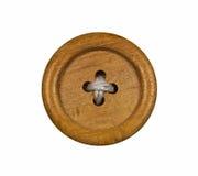 Botão de madeira no fundo branco Imagens de Stock Royalty Free