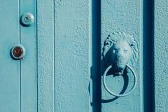 Botão de porta do leão e porta dos azul-céu foto de stock royalty free