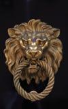 Botão de porta na forma do leão de bronze fotografia de stock royalty free