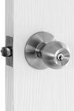 Botão de porta na madeira branca fotos de stock