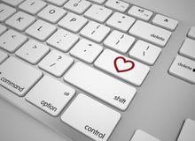 Botão do amor do teclado Fotos de Stock Royalty Free