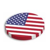 Botão do círculo 3D da bandeira americana com sombra deixada cair no fundo branco Estados Unidos da América, EUA, tema Vetor ilustração royalty free