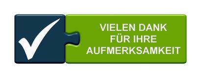 Botão do enigma: Obrigado para seu alemão da atenção Fotografia de Stock