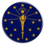 Botão do estado de E.U.: Ilustração de Indiana Flag Badge 3d no fundo branco ilustração do vetor