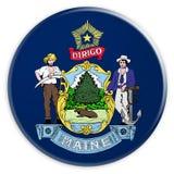 Botão do estado de E.U.: Ilustração de Maine Flag Badge 3d no fundo branco ilustração do vetor