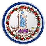 Botão do estado de E.U.: Ilustração de Virginia Flag Badge 3d no fundo branco ilustração royalty free