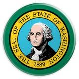 Botão do estado de E.U.: Ilustração de Washington Flag Badge 3d no fundo branco ilustração do vetor