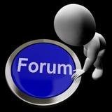 Botão do fórum que significa a comunidade social dos meios ou que obtem Informati Imagens de Stock