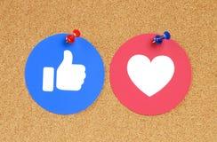 Botão do gosto e do amor de Facebook de reações compreensivo de Emoji fotografia de stock royalty free