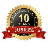 Botão do jubileu com bandeira - 10 ANOS Foto de Stock