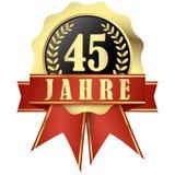 Botão do jubileu com bandeira e fitas por 45 anos Foto de Stock