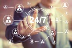 Botão do negócio 24 do serviço horas de Web do ícone Fotos de Stock Royalty Free