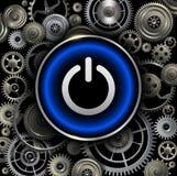 Botão do poder no fundo das engrenagens Fotografia de Stock