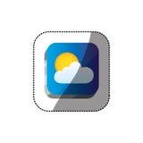 botão do quadrado 3d da cor da etiqueta com nuvem e o sol realísticos Fotografia de Stock