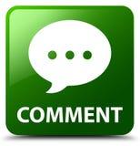 Botão do quadrado do verde do comentário (ícone da conversação) ilustração do vetor