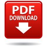 Botão do quadrado vermelho do ícone da Web do pdf ilustração stock
