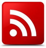 Botão do quadrado vermelho do ícone do RSS ilustração stock