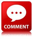 Botão do quadrado vermelho do comentário (ícone da conversação) ilustração royalty free