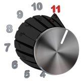 Botão do seletor girado para máximo - nível 11 do número Fotos de Stock Royalty Free