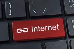 Botão do teclado de computador com ícone do Internet e da relação do texto. fotos de stock royalty free