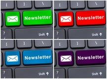 Botão do teclado do portátil com boletim de notícias Imagens de Stock