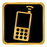 Botão do telefone no branco Fotos de Stock Royalty Free