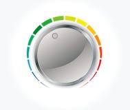 Botão do volume (botão da música) com textura do metal Foto de Stock