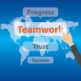 Botão dos trabalhos de equipa da pressão de mão do homem de negócios Conceito dos trabalhos de equipa, vetor ilustração do vetor