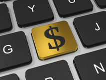 Botão dourado com sinal de dólar no teclado. Imagem de Stock Royalty Free